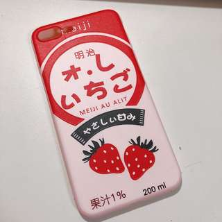 Iphone 7/8plus 明治士多啤梨 粉紅機殼 pinky meiji case