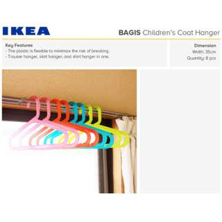 IKEA BAGIS 8 Pcs. Children's coat-hanger, assorted colors