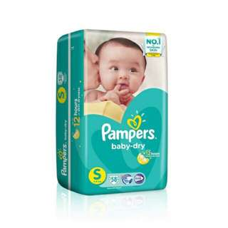 BN Pampers Baby Dry Diapers size S