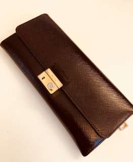 Prada Burgundy Patent Long Wallet