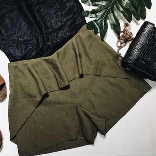 HW olive green ruffled shorts