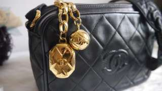 Chanel Vintage Quilted Camera Bag Leather Strap with Special Charms