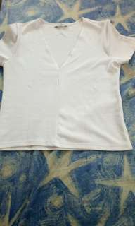 Zara white fitted top