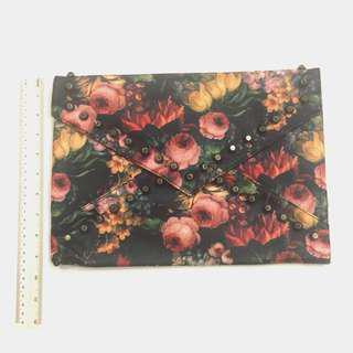Floral leather studded studs envelope clutch sling bag