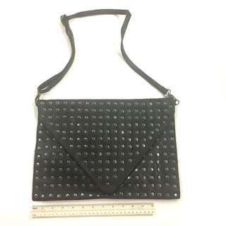 Black leather silver studs studded envelope clutch sling bag