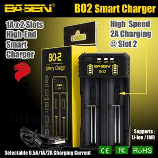 Basen BO2 Dual Slots Smart Charger - 18650, 26650 Battery Charger