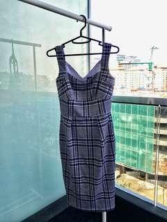 Grey Checkered Corporate Midi Dress