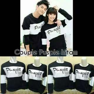 Kode : kaos couple / baju couple / sweater couple lengan panjang murah pusple hitam putih