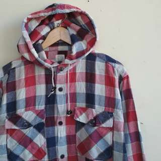 Back number flannel with hoodie