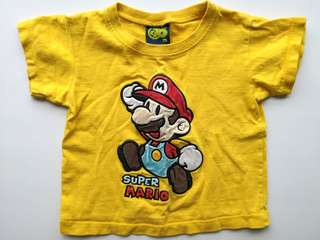 PRELOVED Super Mario Bros Kid's Bright Yellow T-shirt - in good condition but with flaws