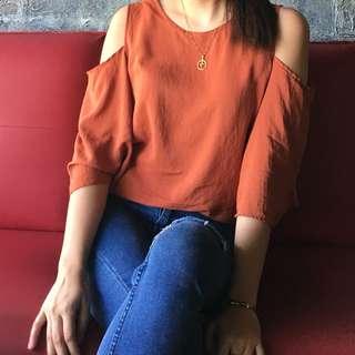 Trendy tan blouse top