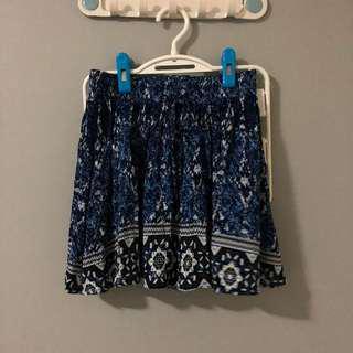 Cotton On Blue Aztec Mini Skirt