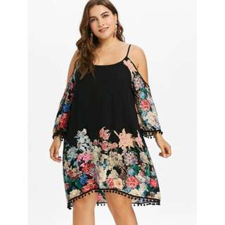 Plus Size Print Casual Cold Shoulder Dress - Black
