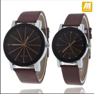 Jam Tangan Couple SNOW FLAKE Korean Style Analog Watch Cowo Cewe Kulit⌚⌚