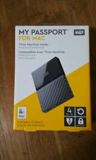For Mac New WD 4TB Portable HDD Hard Disk Drive My Passport Ultra 4.0 TB external Western Digital 2.5""