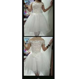 Wedding Dress White Midi Lace S Size