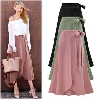 High Waist Long Layered Skirt