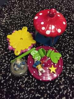 1996 Peyo Brussels Smurf 藍精靈  公仔+蘑菇屋 $280