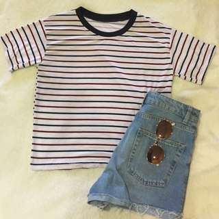 STRIPES  OVERSIZED TEE