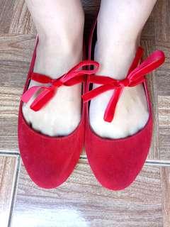 The Little Things She Needs Red Velvet Flats
