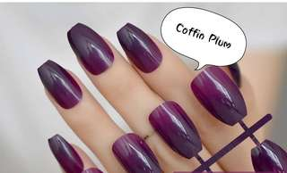 24 Tips Coffin Fake Nails ( Plum & Light Mocca