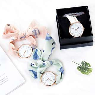 Korean version fashion simple trend watch student small fresh lady wrist strap Ribbon quartz watch
