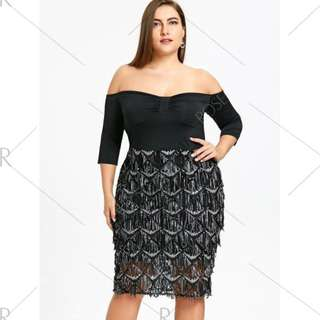 Plus Size Fish Scale Evening Dress
