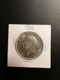 2943 佐治五世 銀幣 xf+