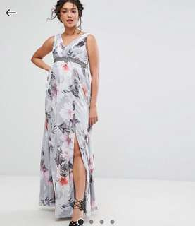 Maternity Plunge Front Maxi Dress in Floral