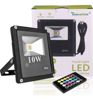 (430) LemonBest 10W RGBW LED Flood Light, Dimmable LED Security Light, Strobe and Timing Function, with 24 Key Remote Controller, IP66 Waterproof, UK Plug, AC 85-265V