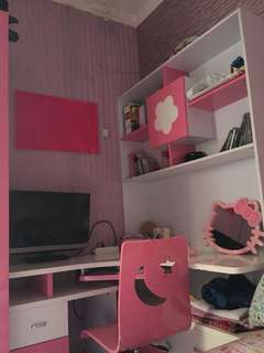 SATU SET FURNITURE ANAK PINK