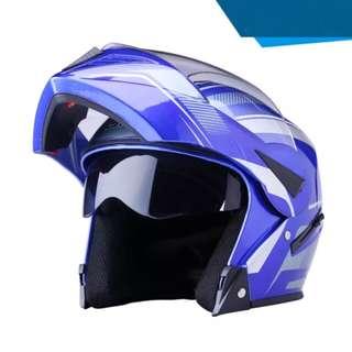 Blue with White Designs Full Face Flip Up Motorcycle Bike Modular Helmet with Double Inner Lens