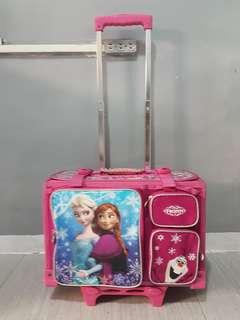 Good as NEW Frozen Girls Stroller (Trolley school bag)