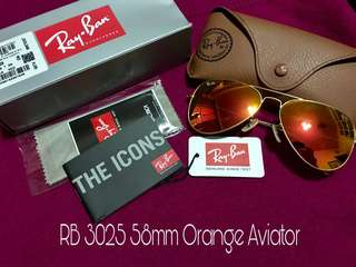 Authentic RB 3025 flame orange/red aviator size 58mm