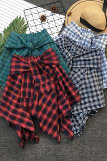 Korean Irregular Plaid Skirt [PRE-ORDER]
