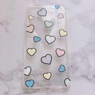 iphone 6/6splus 透明彩色愛心手機殼 四邊全包軟殼