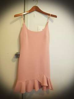 Pink ruffle shift dress