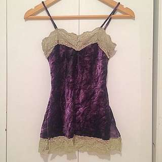Crushed Velvet Purple And Lime Light Green Lace Top