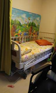 復康床,防褥瘡床墊,輪椅, 沐浴坐便椅,大四爪拐杖,床身布簾連路軌