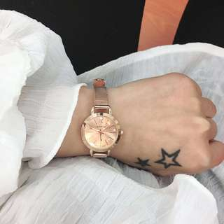 Han Feng simple compact steel chain quartz watch fresh and classic retro art students take disc watch