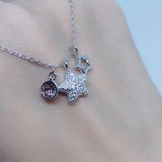 🚚 正生🇭🇰閃鑽滿星粉紫晶項鍊