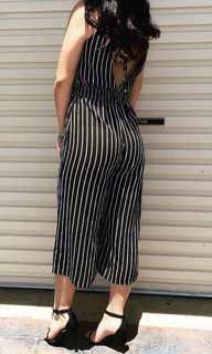 Stripe jumpsuit open back