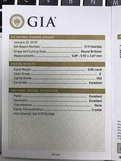 GIA 鑽石0.80 E VS2