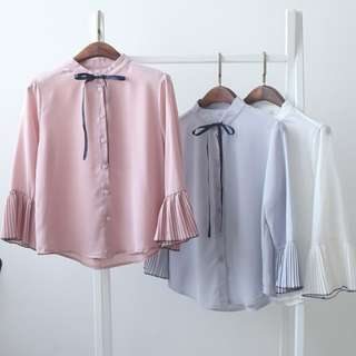 Korean Pleated Flare Sleeve Blouse [PRE-ORDER]