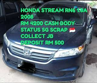 HONDA STREAM RN6 1.8A 2008 RM 4200 CASH BODY STATUS SG SCRAP 🇸🇬 COLLECT JB DEPOSIT RM 500