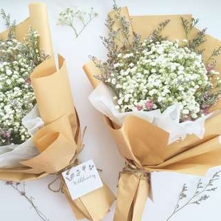 Baby's Breath and Caspia Dried Flower Bouquet