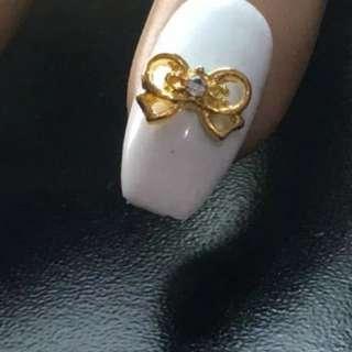 2 Pcs Gold Bow Nail Charm