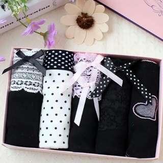 黑色純棉印花女士內褲禮盒