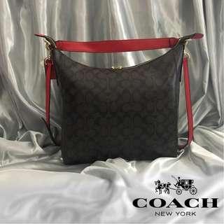 Authentic Quality Coach Outline Signature Celeste Hobo Shoulder Crossbody Bag Sling Bag Purse Handbag Women's Bag (Red)