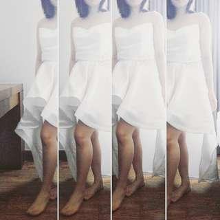 White set party dress (satu set = baju+rok)